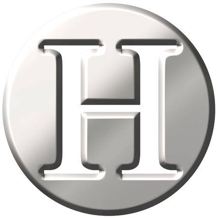 shinning: 3d steel letter H  Stock Photo