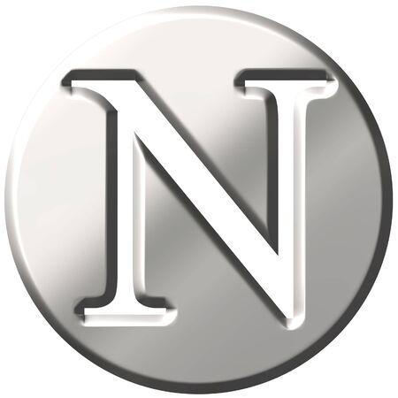 shinning: 3d steel letter N