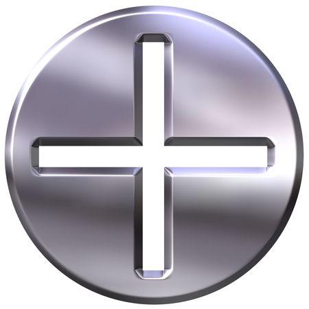 addition symbol: 3d silver framed addition symbol  Stock Photo