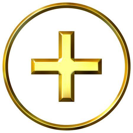 3d golden positive energy symbol  photo