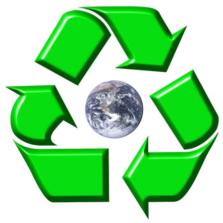 Recycling symbol surrounding earth  photo