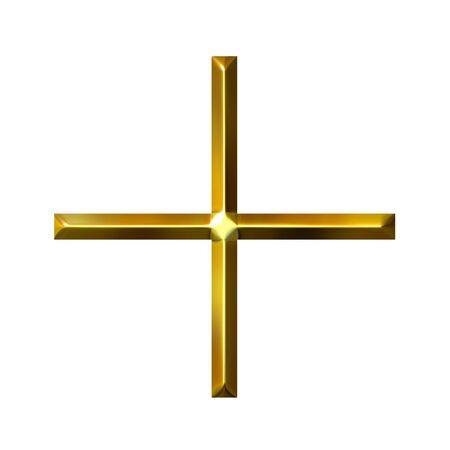addition: 3d golden addition symbol  Stock Photo