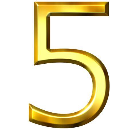 shinning: 3d golden number 5