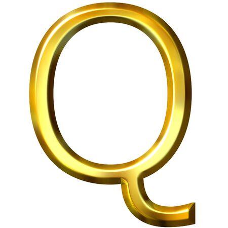 shinning: 3d golden letter Q