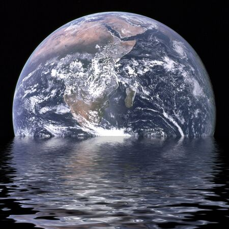 Planet earth is sinking due to global warming Stock Photo - 3536170