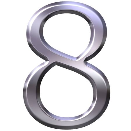 number eight: 3d silver number 8  Stock Photo