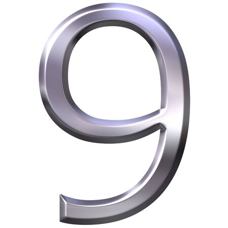 shinning: 3d silver number 9  Stock Photo