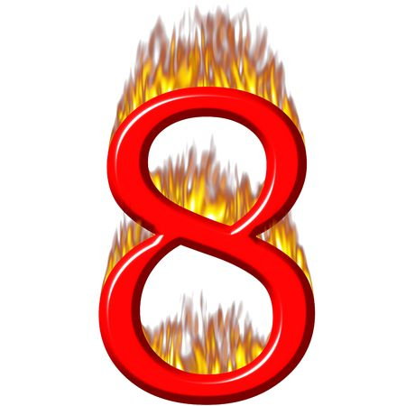 Number 8 on fire  photo