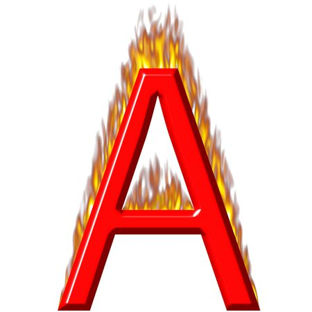 3d letter A on fire  photo