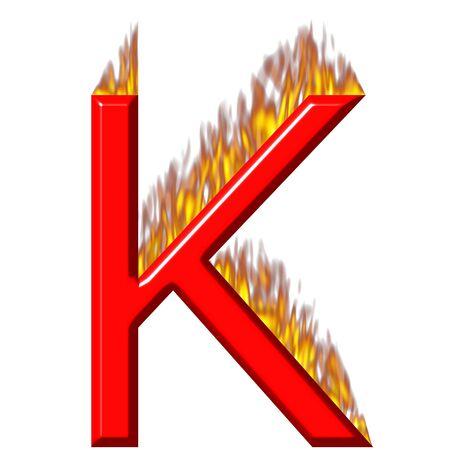 shinning: 3d letter K on fire