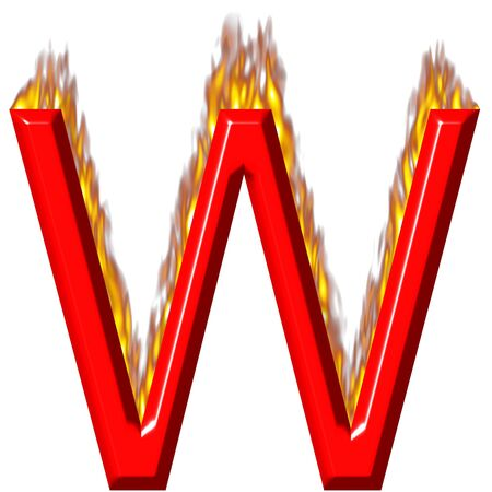 3d letter W on fire  photo