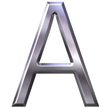 first grade: 3d silver letter A