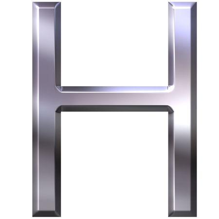 3d silver letter H  photo