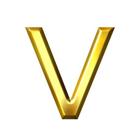 shinning: 3d golden letter v  Stock Photo