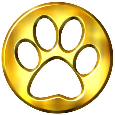 shinning: 3d golden framed cat print  Stock Photo