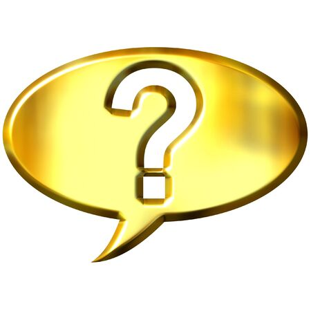 which: 3d golden speech bubble with question mark