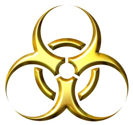 infectious waste: 3d golden biohazard symbol isolated in white Stock Photo