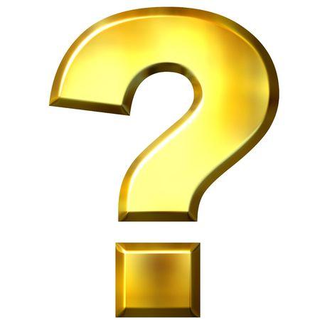 asking questions: 3d golden question mark