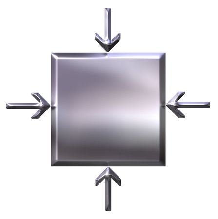 emphasis: 3d silver square with pointing arrows  Stock Photo