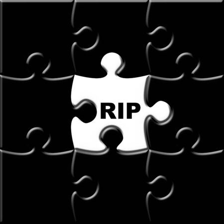 Black puzzle with missing piece representing the deceased photo