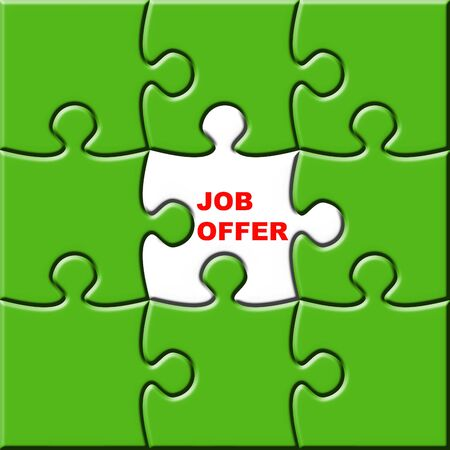 3d puzzle with missing piece for job Stock Photo - 3805186
