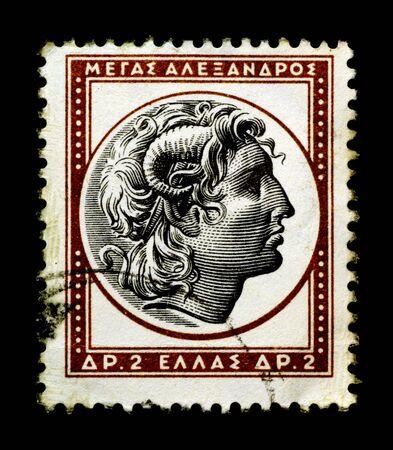 Alexander the Great on Greek stamp Stok Fotoğraf - 3836329