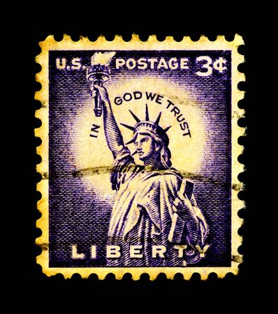 Statue of Liberty on USA stamp Stok Fotoğraf - 3836317