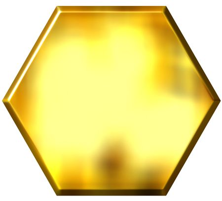 hexagon background: 3d golden hexagon  Stock Photo
