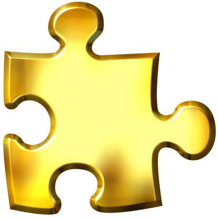 3d golden puzzle piece