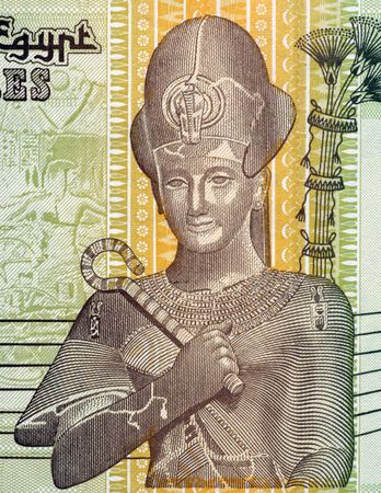 unc: Pharaoh Ramses II on 50 Piastres Banknote from Egypt Stock Photo