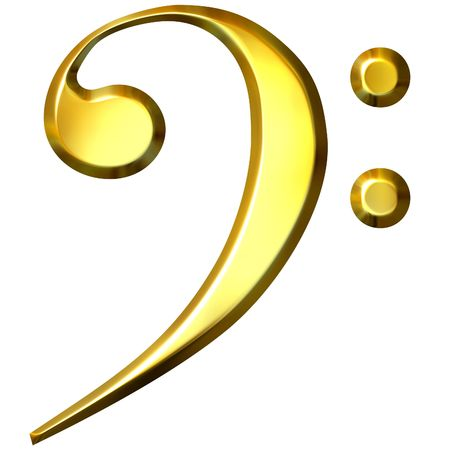 bass clef: 3d golden bass clef