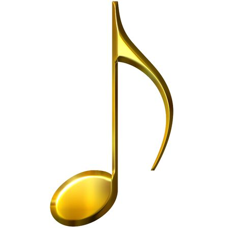 golden key: 3d golden eighth note  Stock Photo