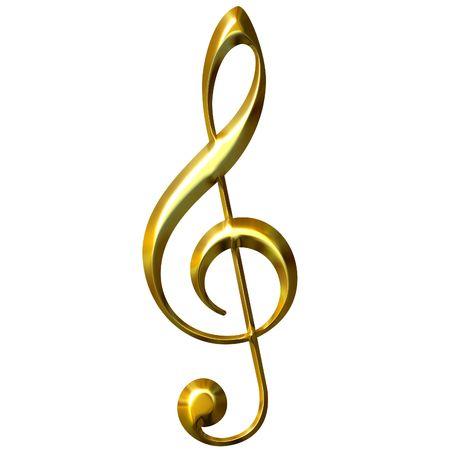 golden key: 3d golden treble clef