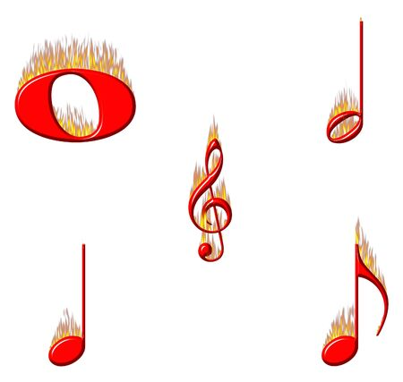 Music notes on fire part 1 of 2 Stock Photo - 3962174