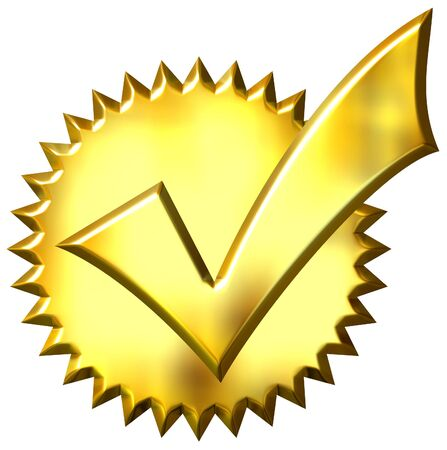 gold seal: 3d golden ticked seal  Stock Photo