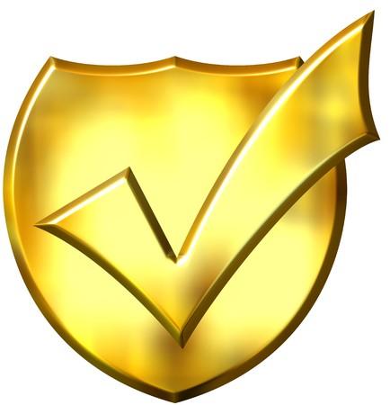 3d golden ticked shield