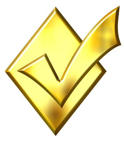 3d golden ticked diamond isolated in white Stock Photo - 4137864