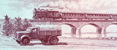 unc: Truck and steam passenger train crossing viaduct on 5 leke 1976 banknote from Albania Stock Photo