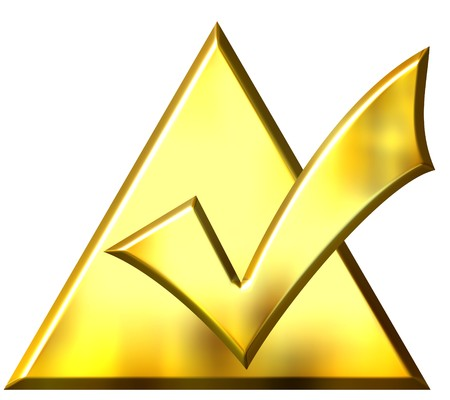 3d golden ticked triangle  Stock Photo - 4224811