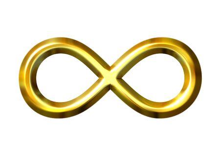 infinito simbolo: 3d dorato simbolo infinito Archivio Fotografico