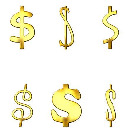eccentric: Eccentric golden dollar symbols Stock Photo
