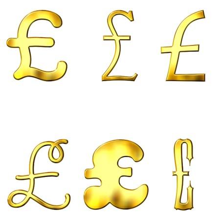 eccentric: Eccentric golden Pound symbols  Stock Photo