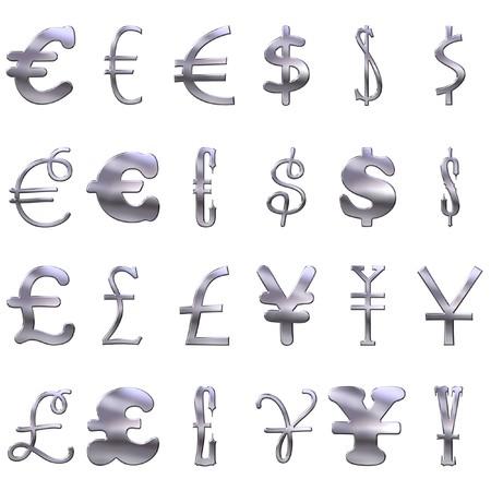 eccentric: 3d eccentric silver currency symbols
