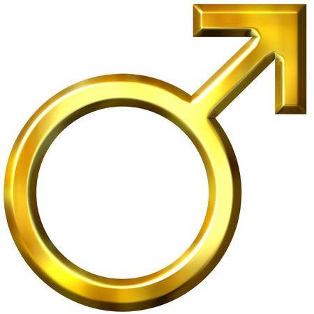 male symbol: 3d golden male symbol Stock Photo