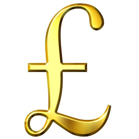 gb pound: 3d golden pound symbol