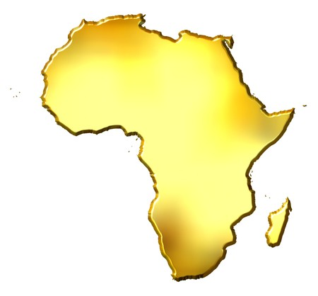 map of africa: Africa 3d golden map