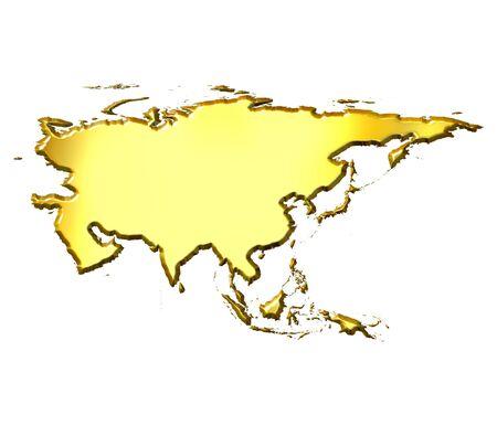 shinning: Asia 3d golden map  Stock Photo