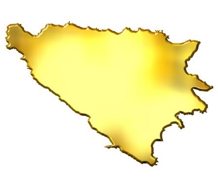 bosnian: Bosnia and Herzegovina 3d golden map isolated in white