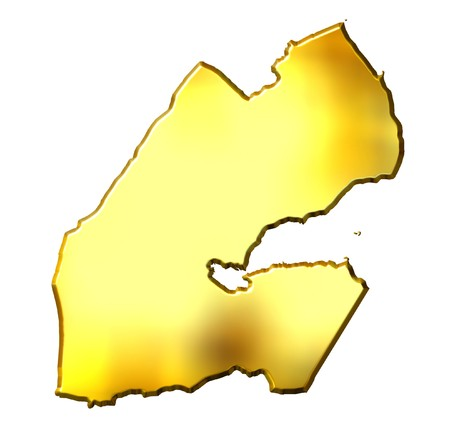 djibouti: Djibouti 3d golden map isolated in white