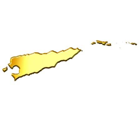 shinning: East Timor 3d golden map isolated in white Stock Photo